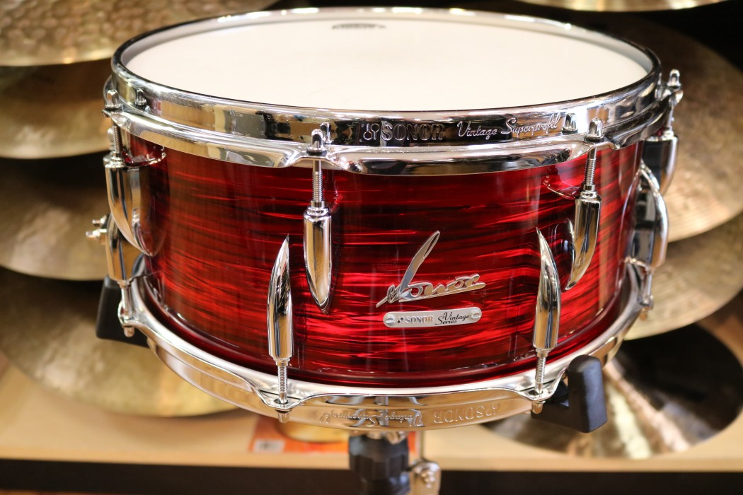 Sonor vintage series 14x6 5 snare drum in vintage red oyster for Yamaha stage custom steel snare drum 14x6 5