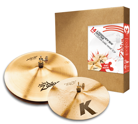 "Zildjian 3 Hat Pack 14"" A New Beat Hi Hat Pair w/ 14"" K Custom Dark Top"