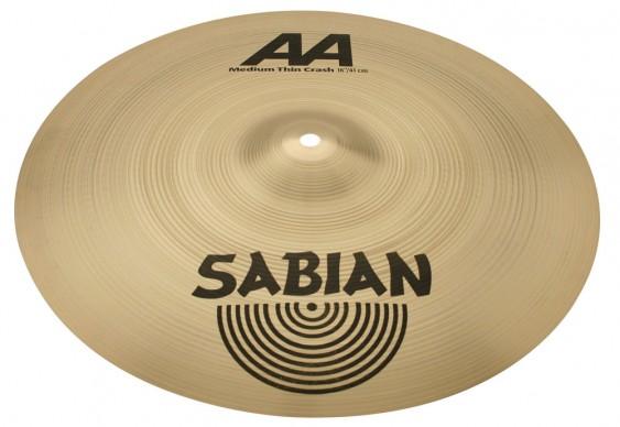"""SABIAN 16"""" AA Medium Thin Crash Brilliant Cymbal"""