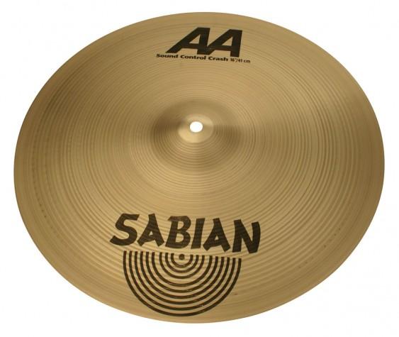 "SABIAN 16"" AA Sound Control Crash Brilliant Cymbal"