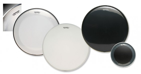 "Aquarian 20"" Full Force Bass Drumhead 2-Pack With Port Hole Black"