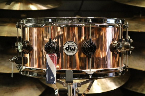 DW Drum Workshop 6.5x14 Smooth Finish Solid Copper Snare Drum w/ Black Nickel Hardware