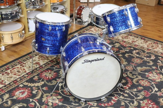 Consignment Vintage Slingerland Set, Early '60s, 12,14,20, Blue Agate, chrome over brass 5X14 snare with some hardware, original, rare, clean