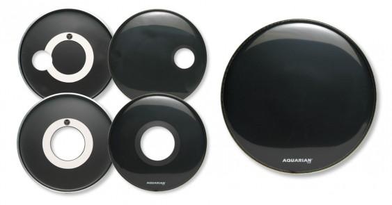 Aquarian 24'' Regulator w/ 4 3/4'' Offset Hole Black Bass Drumhead