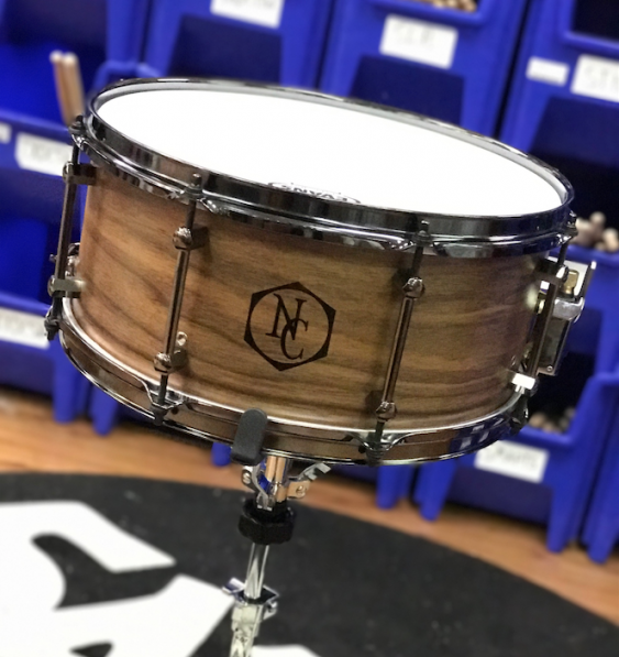 Noble & Cooley Walnut Snare, 6.5X14, Clear Matte, Flanger Black, Woodburn Logo