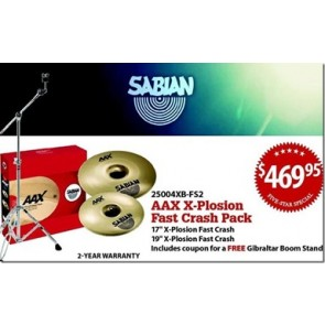 Sabian Limited Edition Five Star AAX Fast Crash Pack with Free Splash and Boom Stand
