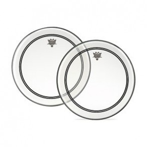 """Remo 26"""" Bass Drumhead, Powerstroke® 3, Clear, 2-1/2'' White Falam® Patch"""