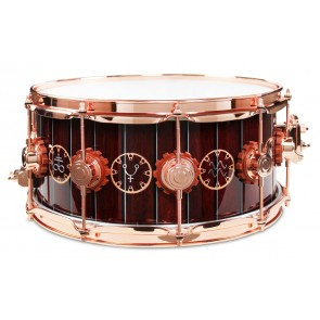 DW Drum Workshop Neil Peart Time Machine Snare Drum w/ Wood Inlay and Copper Hardware