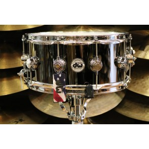 DW Drum Workshop 6.5x14 Black Nickel Over Brass Snare Drum With Chrome Hardware DRVB6514SVC