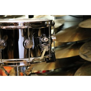 DW Drum Workshop 6.5x14 Black Nickel Over Brass Snare Drum With Chrome Hardware