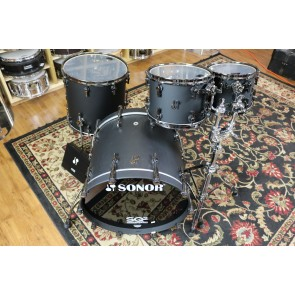 Sonor Custom SQ2 Kit, Dark Satin Finish, Black Chrome Hardware, Medium Shell, 9 ply Maple, 10,12,16,22