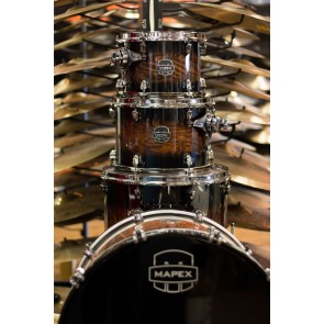 Mapex Saturn V Exotic MH Rock 4-piece shell pack In Transparent Ash Burl Burst with SONIClear Edge