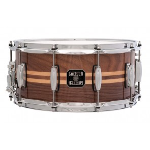 Gretsch 6.5X14 Walnut Shell Snare Drum With Two Maple Inlays