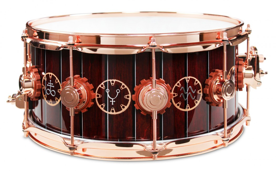 dw drum workshop neil peart time machine snare drum w wood inlay and copper hardware. Black Bedroom Furniture Sets. Home Design Ideas