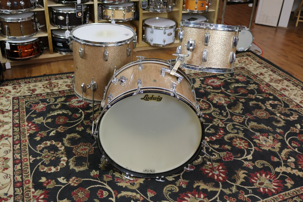 used 1965 ludwig 3pc 13 16 22 champagne sparkle chrome over brass hoops. Black Bedroom Furniture Sets. Home Design Ideas