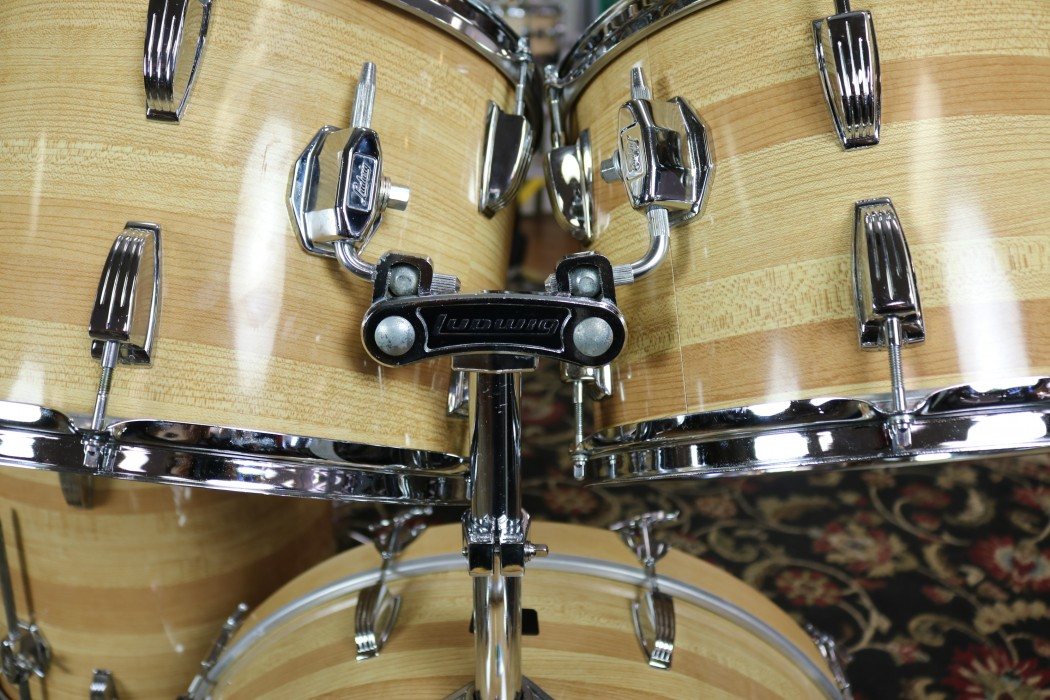 Used 70 S Vintage Ludwig Drum Set Butcher Block Finish 13 14 16 18 24