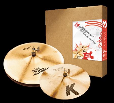"""Zildjian 3 Hat Pack 14"""" A New Beat Hi Hat Pair w/ 14"""" K Custom Dark Top"""