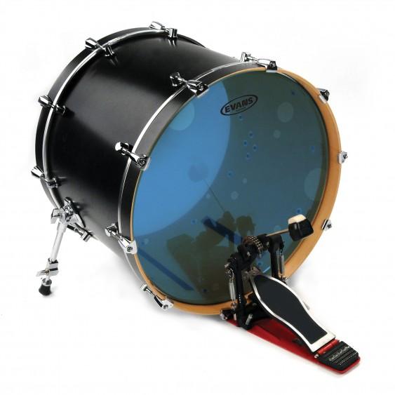 """Evans 22"""" Blue Hydraulic Bass Drumhead"""