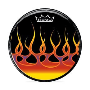 """Remo 18"""" Spreading Flames Graphic Head Custom Bass Drumhead"""