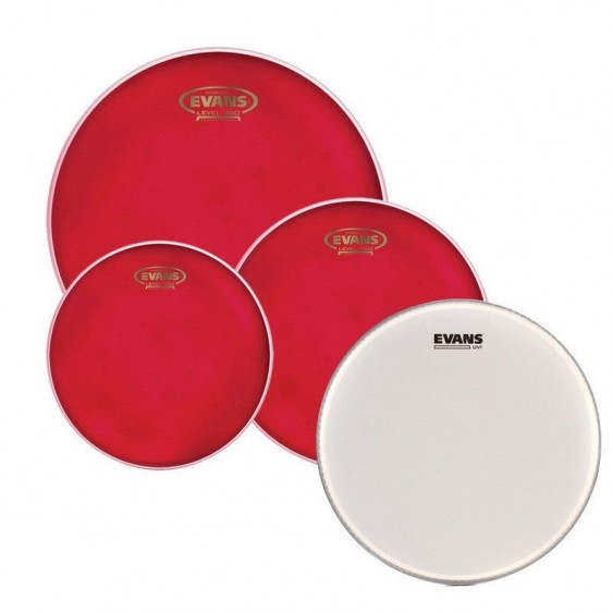 """Evans Hydraulic Red Fusion Pack (10"""", 12"""", 14"""") with 14"""" UV1 Coated Snare Batter Drum Heads"""