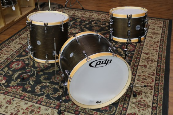 Custom PDP By DW Pacific Concept Maple Classic Shell Pack, 16x22, 8x12, 16x16, Walnut Finish with Natural Hoops