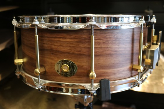 Noble and Cooley 6x14 Classic Walnut Snare Drum, Clear Matte Finish, Brass Hardware, Flanged Chrome Hoops FGSSW146P2FC