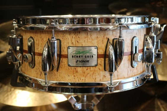 "Sonor 13x 5.75"" Benny Greb Signature Beech Snare Drum with Teardrop Lugs and Bubinga Inlay"