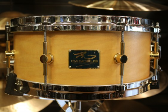 Used Canopus 5.5x14 8 ply Snare Drum w/ Die Cast Hoops and Natural Oil Finish