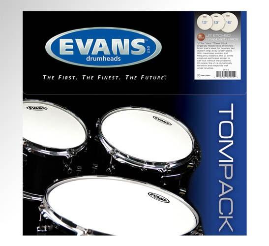 """Evans 10"""",12"""",14"""" J1 Etched Drumhead"""
