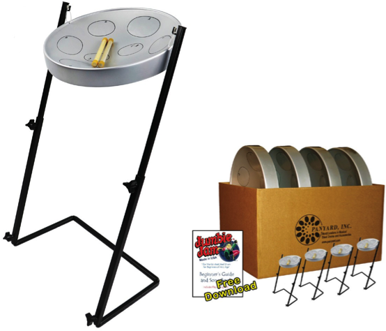 Jumbie Jam Steel Drum Educators 4-Pack with Metal Z-Floor Stands