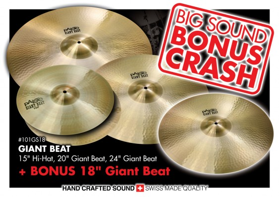 "Paiste Giant Beat Cymbal Set 15"" 20"" 24"" With FREE 18"" - 101GS18"