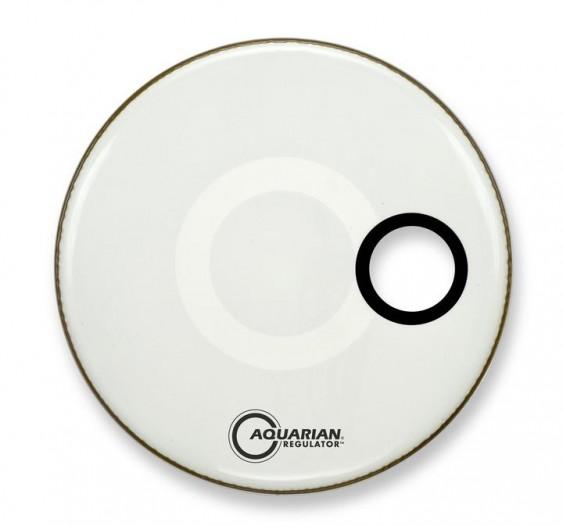 Aquarian 22'' Regulator w/ 4 3/4'' Offset Hole White Bass Drumhead