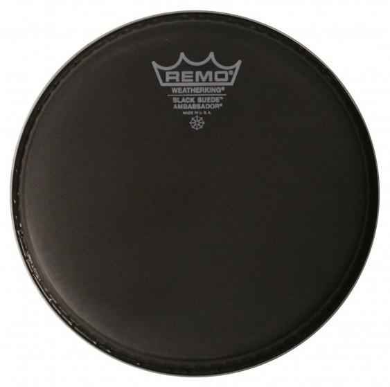 "Remo 12"" Black Suede Ambassador Batter Drumhead"