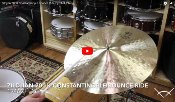 """Zildjian 20"""" K Constantinople Bounce Ride Cymbal - Demo of Exact Cymbal - 1946g K1060"""