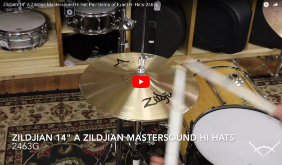 "Zildjian 14"" A Zildjian Mastersound Hi Hat Pair-Demo of Exact Hi Hats-2463g A0123"