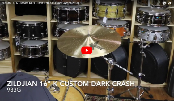 "Zildjian 16"" K Custom Dark Crash-Demo of Exact Cymbal-983g K0951"
