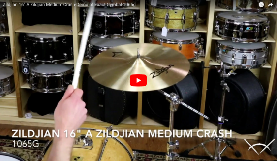 "Zildjian 16"" A Zildjian Medium Crash-Demo of Exact Cymbal-1065g A0240"