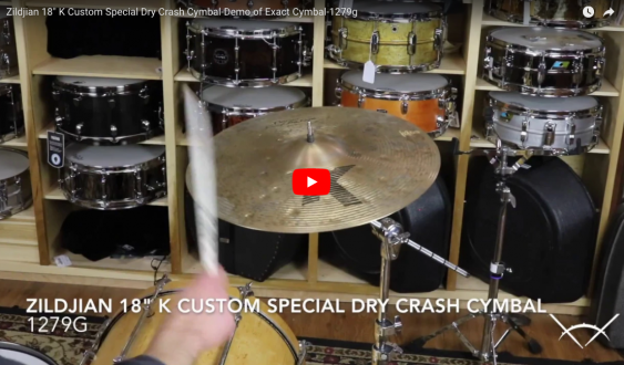 "Zildjian 18"" K Custom Special Dry Crash Cymbal-Demo of Exact Cymbal-1279g K1419"