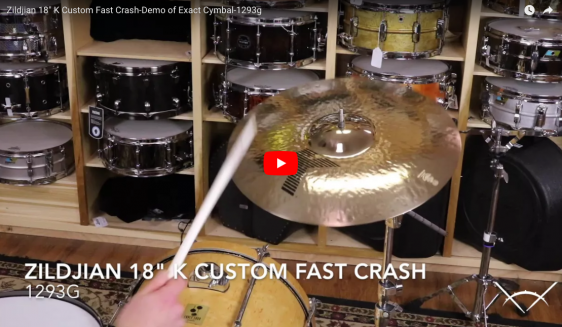 "Zildjian 18"" K Custom Fast Crash-Demo of Exact Cymbal-1293g K0984"