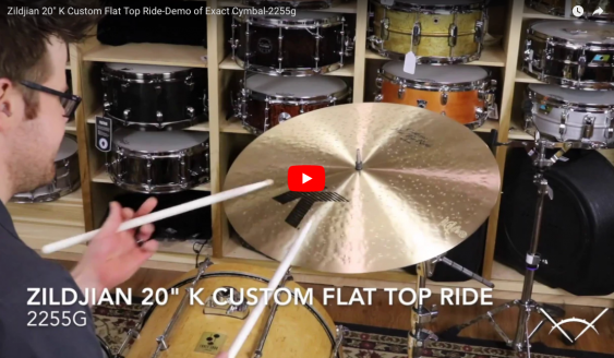 "Zildjian 20"" K Custom Flat Top Ride-Demo of Exact Cymbal-2255g K0882"