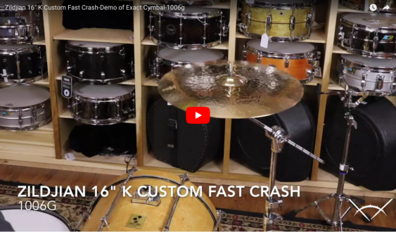 "Zildjian 16"" K Custom Fast Crash-Demo of Exact Cymbal-1006g K0982"