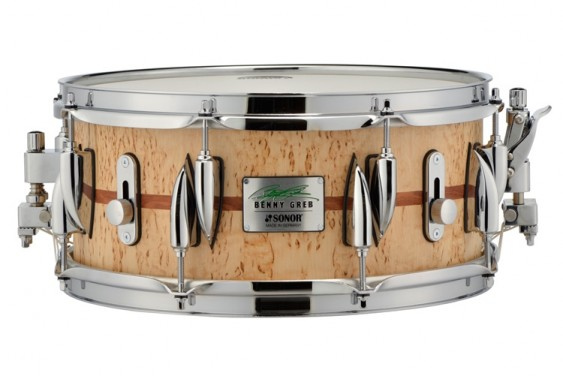 """Sonor 13x 5.75"""" Benny Greb Signature Beech Snare Drum with Teardrop Lugs and Bubinga Inlay"""