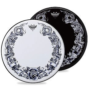 "Remo 22"" Tattoo Skyns Serpent Rose Drumhead w/ Tattoo Serpent Rose On White"