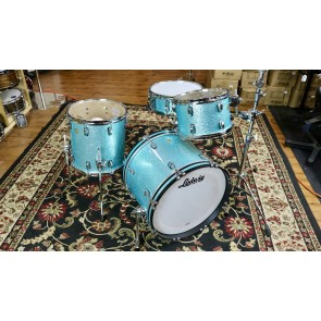udwig Classic Maple Shell Kit in Turquoise Glitter Downbeat 14x20, 8x12, 14x14, w/ Free matching 5x14 Snare Drum