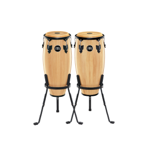"Meinl Headliner Wood Congas 10"" & 11"" Set, Includes Basket Stands Natural"