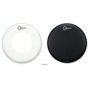 "Aquarian Hi-Velocity 14""' Coated Black w/ Reverse Power-Thin Dot - Drumheads"