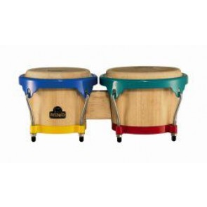 "Meinl NINO Wood Bongos 6 1/2"" & 7 1/2"" Natural/ Harlekin Hardware"