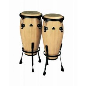 "Meinl NINO Wood Congas 8"" & 9"" Set, Incl. Basket Stands Natural"