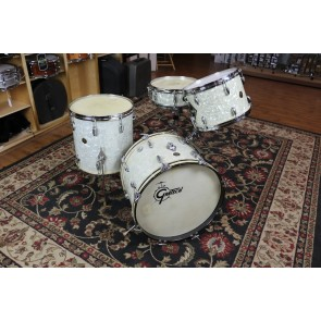 Vintage Gretsch 6 ply Round Badge, 13,16,20, Snare Drum, w/cases hardware, most original calf, White Marine Pearl
