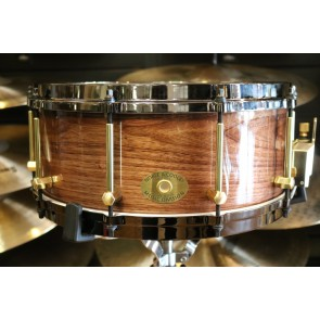 Noble & Cooley 6x14 SS Classic Steam Bent Walnut in clear gloss with brass hardware and die-cast black nickel hoops